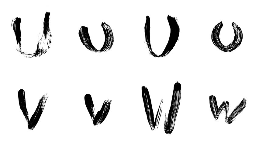 Hi-resolution, hand painted brush stroke alphabet letters U, V & W with alpha channel. Follow us to get more characters from the collection. A must have for motion graphic designers.