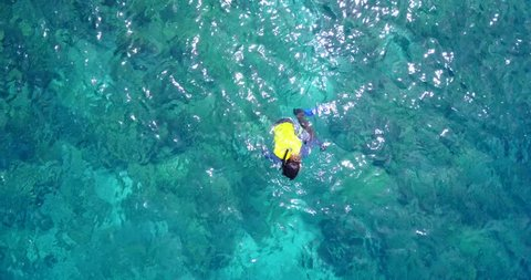 v11854 many people young boys girls snorkeling over coral reef with drone aerial flying view in crystal clear aqua blue shallow water