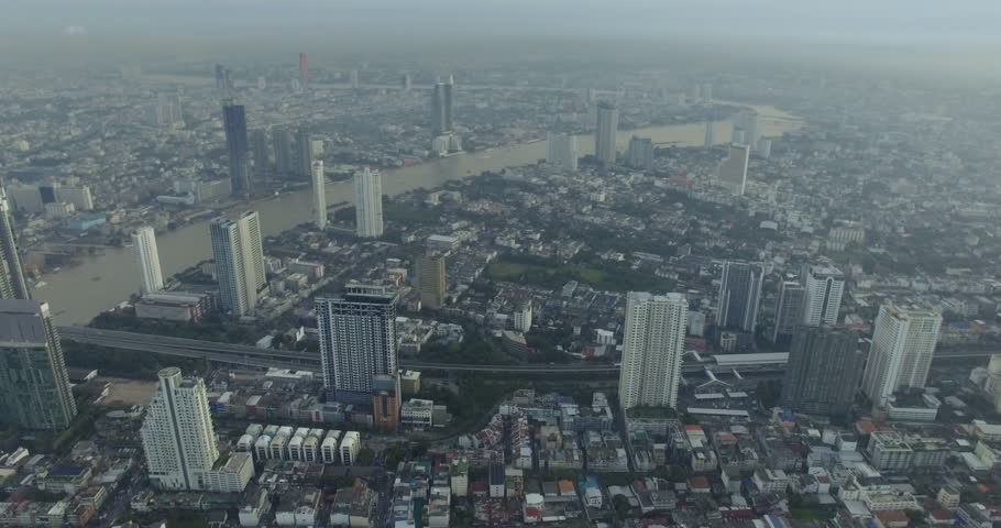 Aerial view of Chao Phraya river in Bangkok, Thailand | Shutterstock HD Video #32271553