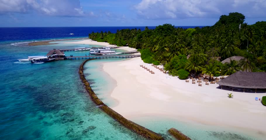 maldives white sand beach tropical islands with drone aerial flying birds eye view with aqua blue sea water and sunny sky   Shutterstock HD Video #32284003