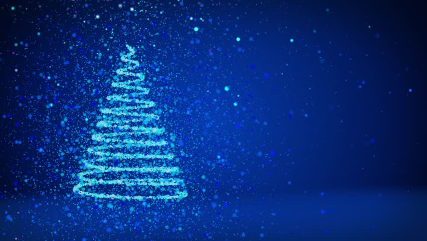 hd0030blue big christmas tree from glow shiny particles on the left side of screen winter theme for xmas background with copy space