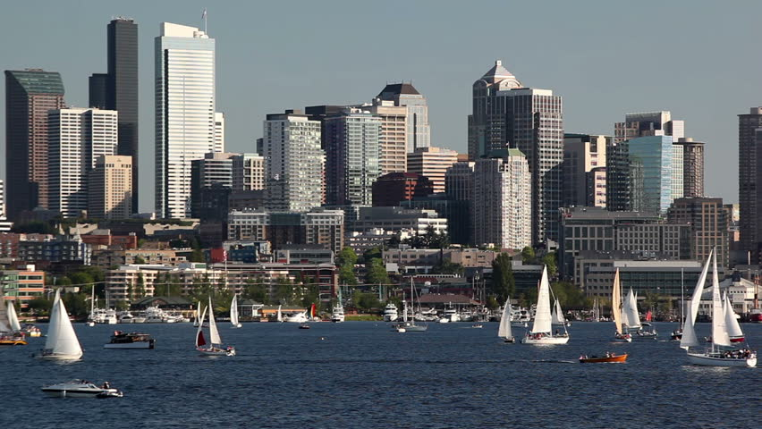 WA, Seattle, Sailboats on Lake Union, Seattle skyline, view from Gasworks Park