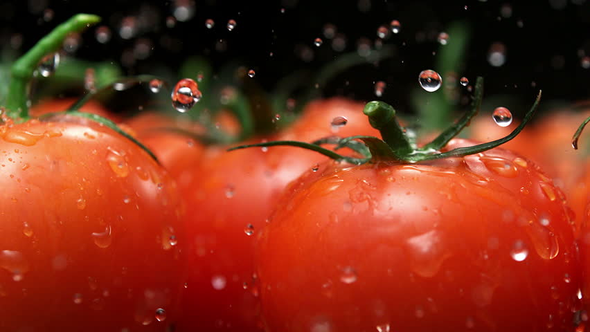 Water splash on tomato shooting with high speed camera, phantom flex.