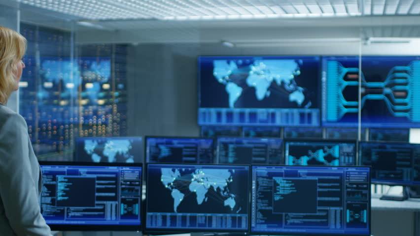 Futuristic command center interface loop ready stock for Futuristic control room