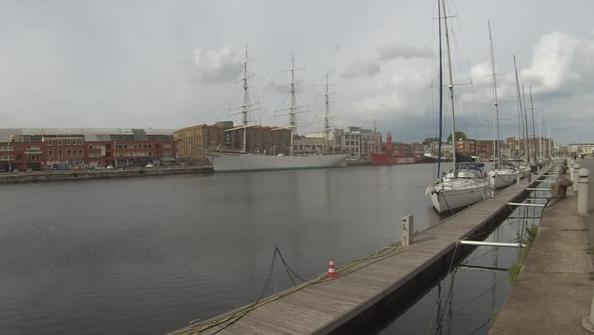 Dunkerque France  Yacht harbour with Port Museum/Musee Portuaire Dunkerque and full rigged ship Duchesse Anne