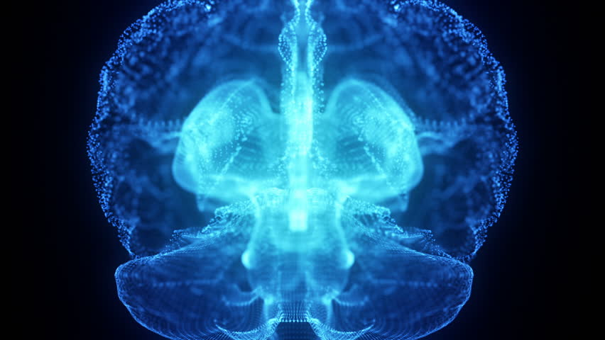 Rotating Hologram of Human Brain | Glowing Light Particles Arranged in the Formation of Human Brain Model Spinning 360 Degree | Seamless Looping Motion Animated Background | Blue Cyan
