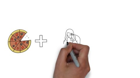 Sketching pizza plus woman equals happiness, whiteboard animation of pizza and people, pizza business sketch idea