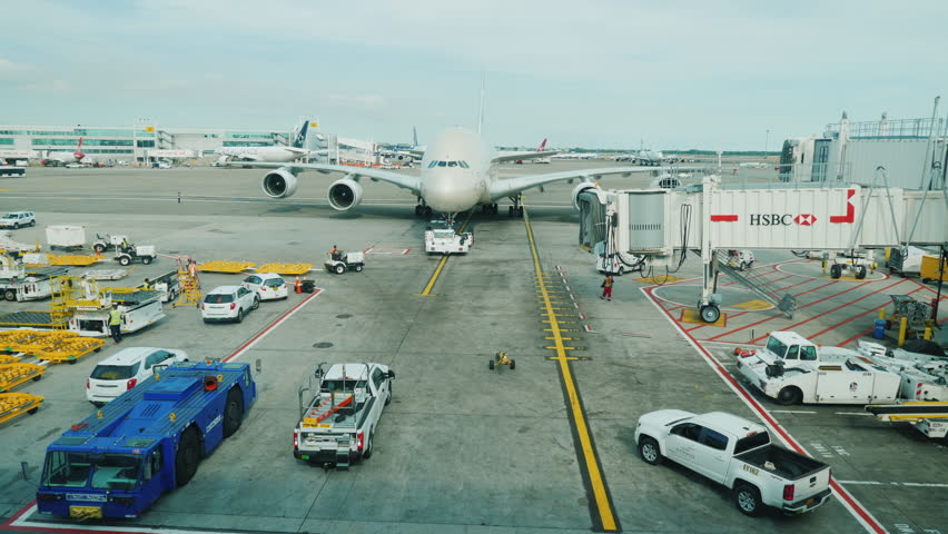 New York, USA, September 2017: preparing to take off from the JFK airport