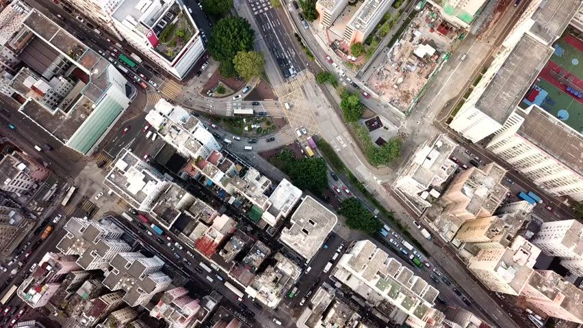 Sham Shui Po, Hong Kong 31 October 2017:- Flying drone over Hong Kong city | Shutterstock HD Video #32326003