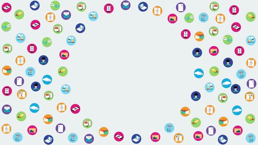 Digital marketing icons animation. Social media icons, rocket ship, bird, mail, smart phone, vr. Vector illustration. -stock footage   Shutterstock HD Video #32357053