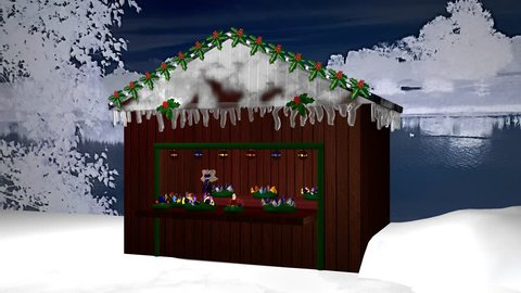 Christmas hut With Advent wreaths, little fairy and burning candle. 3d animation
