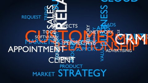 Customer relationship management (CRM) word tag cloud. 3D rendering, loop able, blue variant, UHD