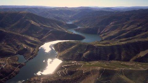 Aerial shot Alto Douro Wine Region, Douro, Portugal
