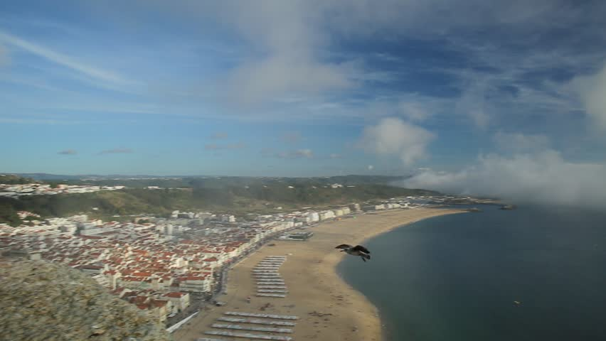 Aerial viewpoint with flying seagulls in skyline of Nazare in Portugal from popular Miradouro do Suberco Nazare Sitio, in Portugal. Nazare town is the most popular seaside resorts in Atlantic coast.