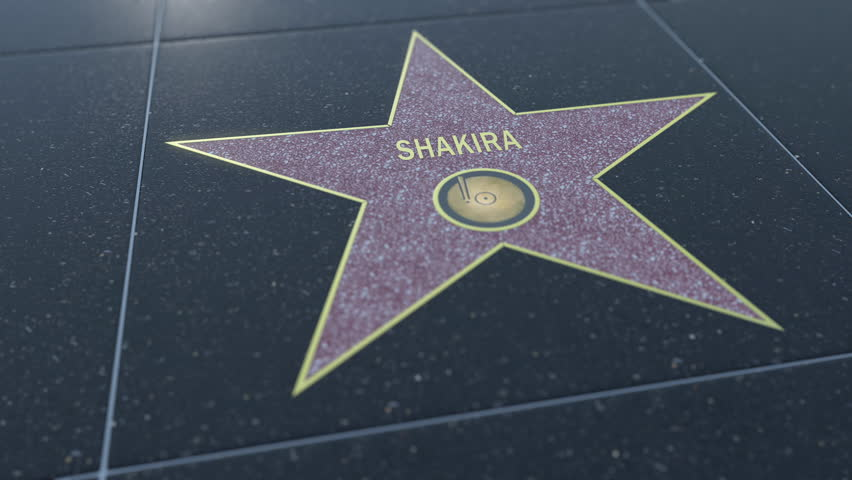 Hollywood Walk of Fame star with SHAKIRA inscription. Editorial clip