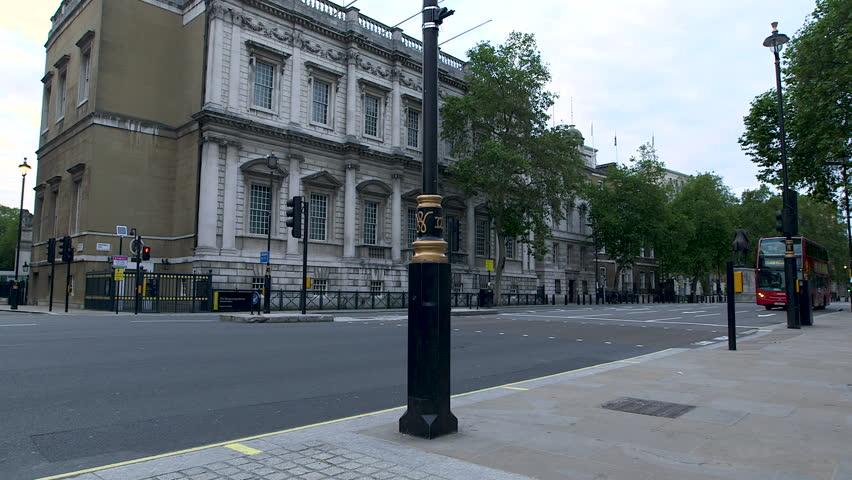 Deserted London Empty Street Whitehall Westminster Red Bus