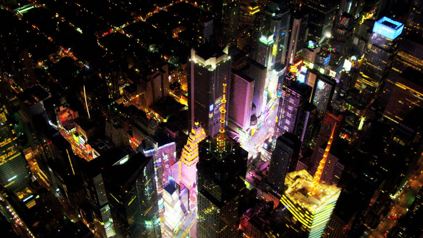 Aerial view of Times Square and Broadway illuminated at night, Manhattan, New York
