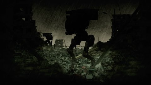 Skull and crossbones sign animation. Post apocalyptic scene with military robots