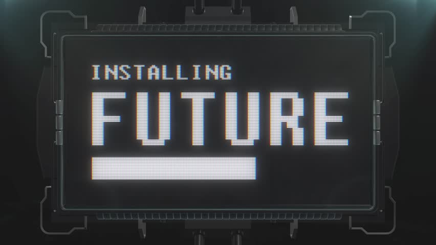 Retro videogame installing future text words on futuristic tv glitch interference screen animation seamless loop New quality universal vintage techno motion dynamic background colorful joyful  video