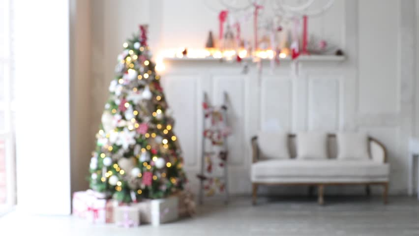 4K Video Footage Of Unfocused White Room With Christmas And New Year