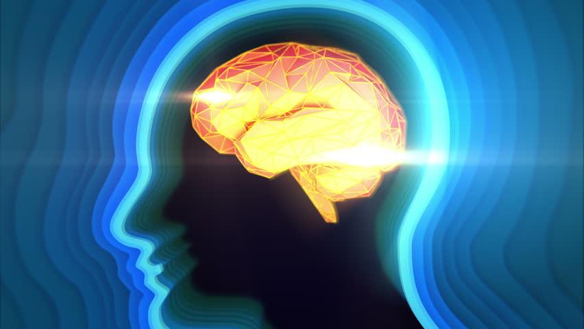 Conceptual animation showing neuronal activity in the human brain. Blue-Orange color.  Neuronal Activity.
