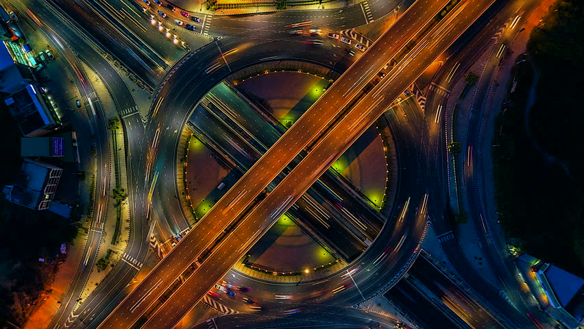 Aerial view Time lapse of the expressway, motorway and highway in the detail of circus intersection  #32448823