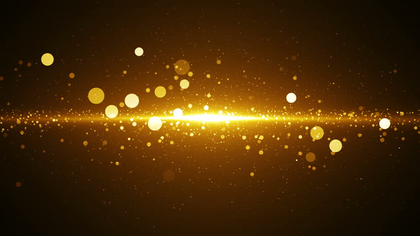 Golden dust coming to camera. Abstract background with seamless loop. Light in center with particles.