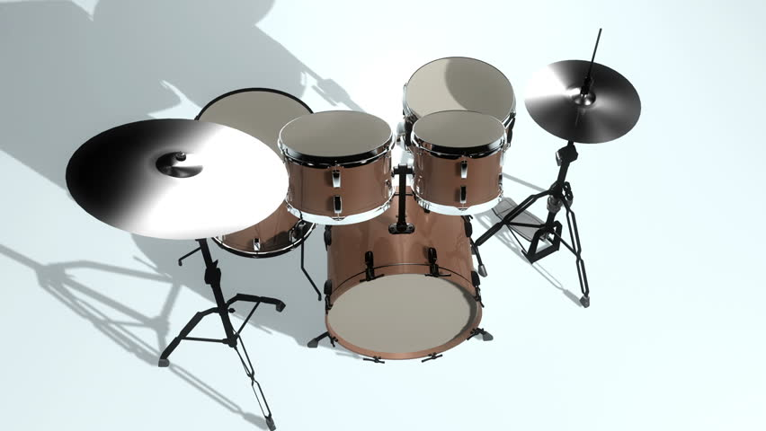 High Definition abstract CGI motion backgrounds ideal for editing, led backdrops or broadcasting featuring a drum set constructing itself piece by piece