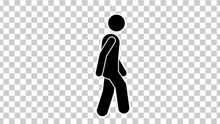 Black Stick Figure Quickly Walk Cycle with Alpha Matte