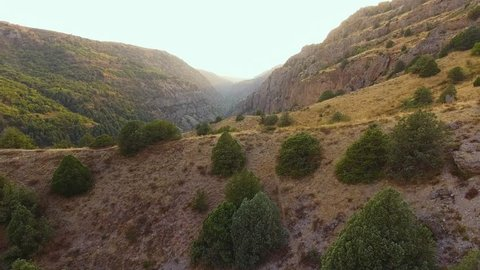 Aerial shot of the Aksu Zhabagly nature reserve canyon near Shymkent city
