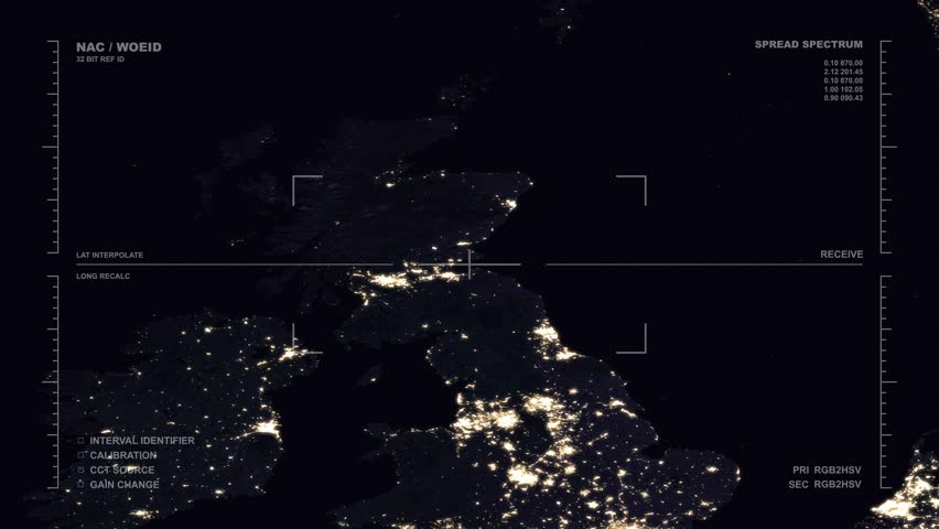 Nighttime aerial surveillance flyover of Britain and Europe's west Coast. Reversible, seamless loop. Elements of this image furnished by NASA | Shutterstock HD Video #32488543