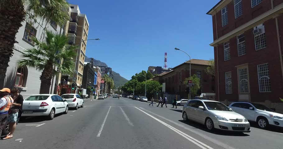 CAPETOWN,SOUTH AFRICA - CIRCA February 2017 :Driving along street in Cape Town