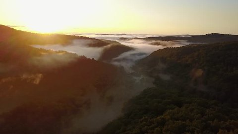 West Virginia - United States - September 28, 2017: The first daylight appears over the horizon at the mountains, West Virginia