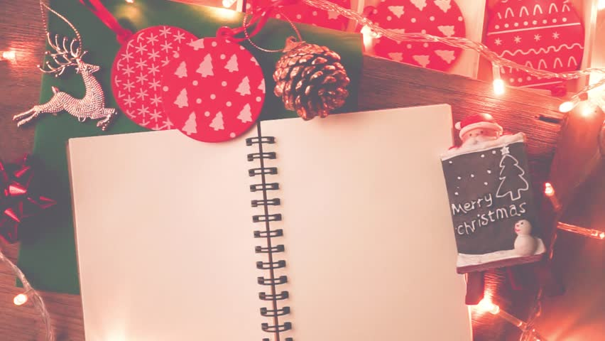 Decorations and blank notebook for christmas and new year background | Shutterstock HD Video #32563363