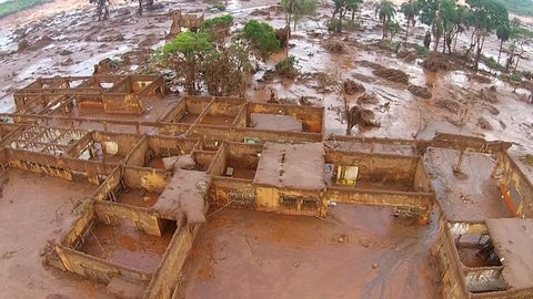Breaking of dams in Mariana Minas Gerais District of bento Rodrigues devastated by the sludge of ore regeito. Brazil's biggest famine tragedy