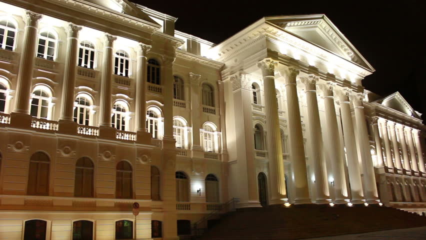 Pan view of public university old building with Classical white Greek style columns in Curitiba, Parana. City to host the next world cup of soccer in Brazil.