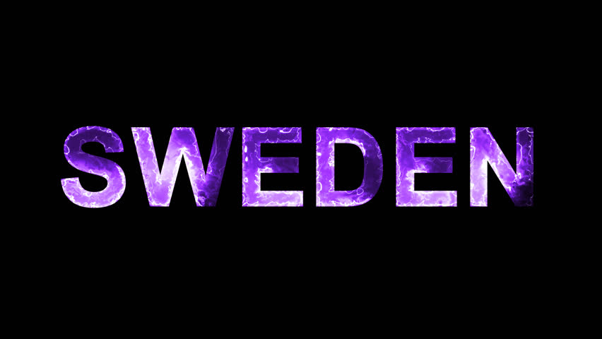 Luminous and shimmering haze inside the letters of the country name SWEDEN. Transparent, Alpha channel   Shutterstock HD Video #32603893
