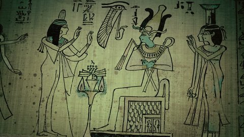 Magic animated illustration in the Egyptian manuscript with Osiris