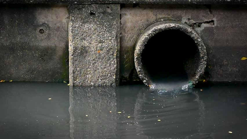 waste water flow to sewer with moss, bad water from city, water pollution, sewer drain pipe dirt sewage water drain to Wastewater Treatment.1280-720p at frame rate of 25Fps
