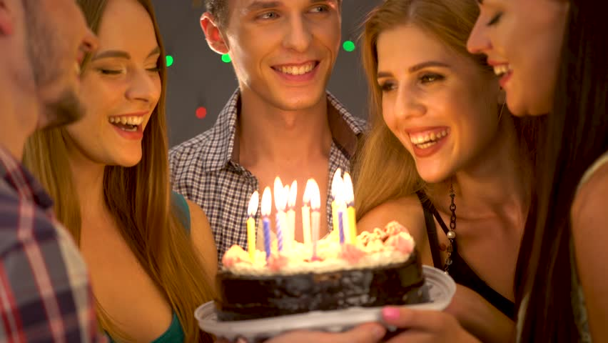 Birthday Cake On Party People Stock Footage Video 100