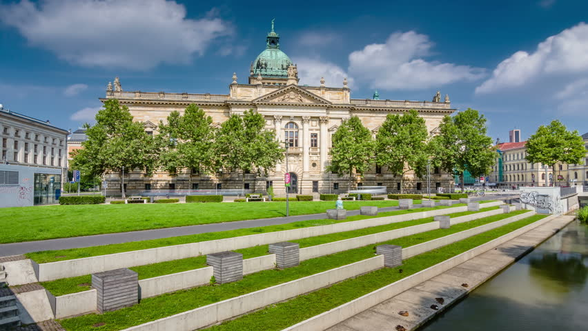Timelapse view of Building of Federal Administrative Court of Germany (Bundesverwaltungsgericht) in Leipzig, Saxony, Germany. Hyperlapse view.