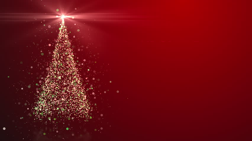 Merry Christmas greeting video card. Christmas tree with shining light, falling snowflakes and stars, 4K video background | Shutterstock HD Video #32648554