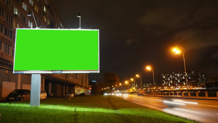A Billboard with a Green Screen on a Busy Street | Shutterstock HD Video #32649043