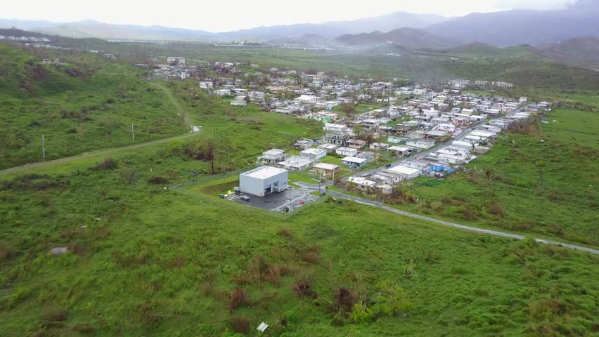 San Juan, Puerto Rico - October 03, 2017: Aerial view of hurricane Maria's damage on small town in Puerto Rico
