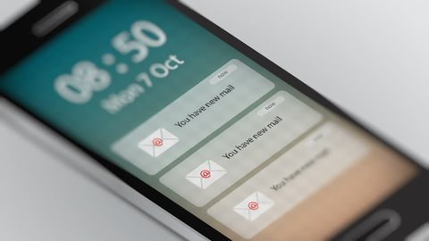 Close Up Shot of New E-mail Notification on Smart Phone. Seamless Loops.
