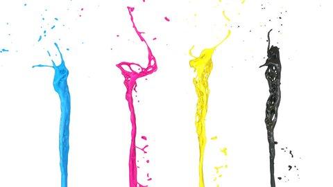 CMYK paint splashes in slow motion, isolated on white (FULL HD)