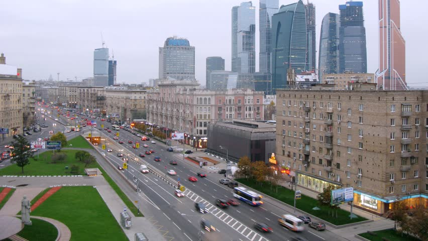 MOSCOW - OCT 23: (Timelapse) Downtown Main Street Traffic ...