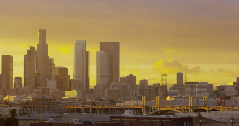 Timelapse of DTLA skyline view from East LA sixth street bridge, Los Angeles, California | Shutterstock HD Video #32687953