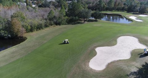 Golf club Course Glencliff Park in Westchase Tampa Florida. Aerial drone shoot.