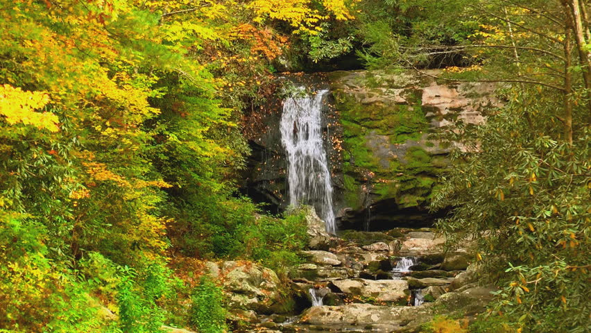 A beautiful waterfall in the Tennessee mountains in autumn